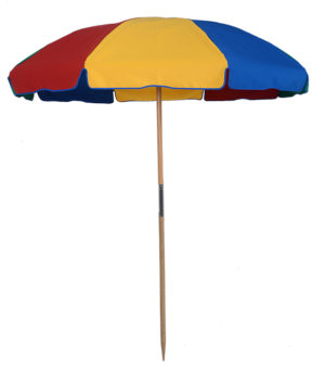 (844WBNB) 7.5 ft. Wood Beach Umbrella - Fiberglass Ribs - No Button