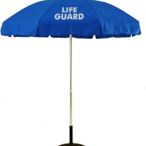 (639A-LG) 6 1/2 Ft. Aluminum Pop-Up Lifeguard Logo Umbrella - No Tilt (Flat Bottom Pole)