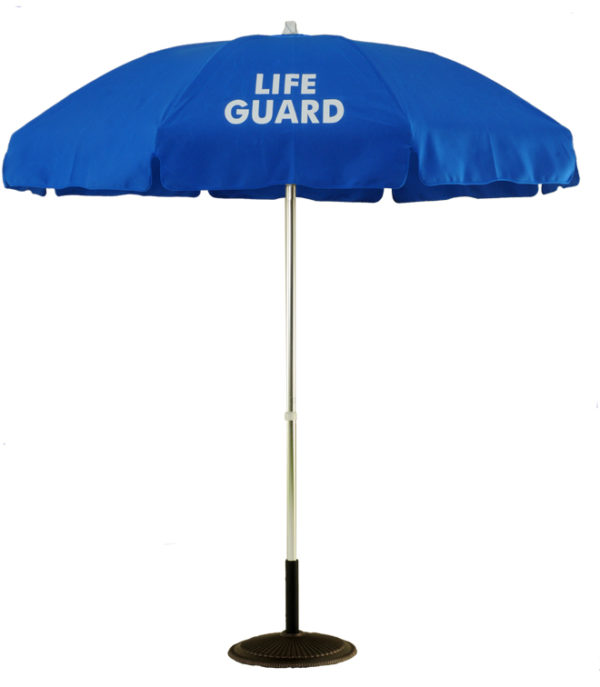 (639A-LG) 6 1/2 Ft. Aluminum Pop-Up Lifeguard Logo Umbrella - No Tilt (Flat Bottom Pole)